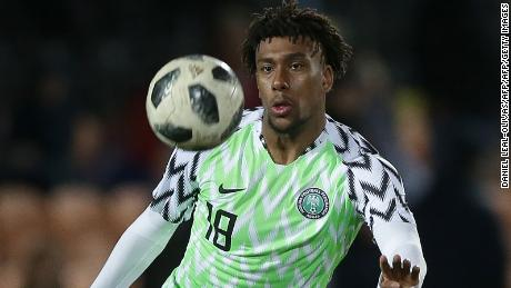 Nigeria's midfielder Alex Iwobi controls the ball during the International friendly football match between Nigeria and Serbia at the Hive stadium in Barnet, north London on March 27, 2018. / AFP PHOTO / Daniel LEAL-OLIVAS        (Photo credit should read DANIEL LEAL-OLIVAS/AFP/Getty Images)