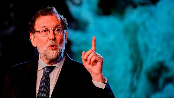 Spanish Prime Minister Mariano Rajoy speaks during the national convention of ruling
