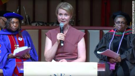 Cynthia Nixon spoke at Helene Fuld College of Nursing this year.