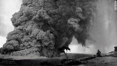 Volcanic ash and rock rise from Kilauea during an eruption during the 1920s.