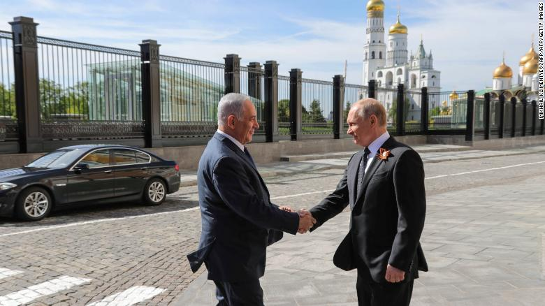 Putin welcomes Netanyahu ahead of the Victory Day military parade in Moscow on Wednesday.