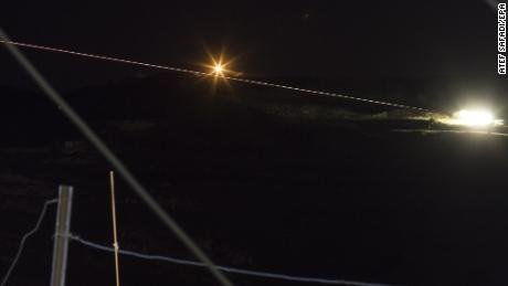 A long-exposure picture that reportedly shows Israeli missiles headed toward military targets in Syria.