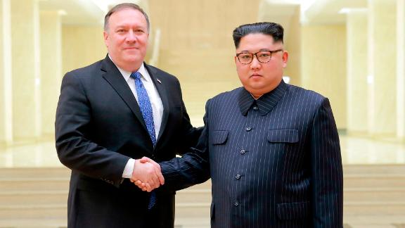 A photo from the North Korean government, shows US Secretary of State Mike Pompeo with North Korean leader Kim Jong Un.