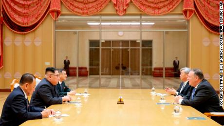 US Secretary of State Mike Pompeo, right, attends a meeting with North Korean leader Kim Jong Un, second from left, at the Workers' Party of Korea headquarters in Pyongyang, North Korea.