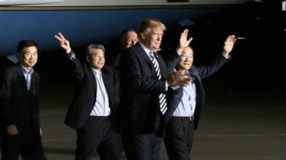 trump greets americans detained by north korea