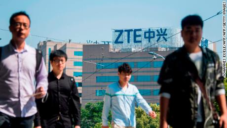 The ZTE logo is seen on an office building in Shanghai on May 3, 2018. - Senior US officials arrive in Beijing for trade talks with China, as both sides dampen expectations for a quick resolution to the heated dispute between the world's two largest economies. (Photo by Johannes EISELE / AFP)        (Photo credit should read JOHANNES EISELE/AFP/Getty Images)