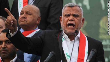 Hadi al-Amiri, leader of the Fatah Alliance, a coalition of Iranian-supported militia groups, speaks during a campaign rally in Baghdad on May 7.