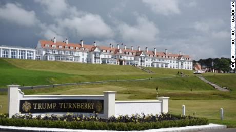 "A general view of the newly-renovated Trump Turnberry hotel and golf resort in Turnberry, Scotland on June 24, 2016.  Donald Trump hailed Britain's vote to leave the EU as ""fantastic"" shortly after arriving in Scotland on Friday for his first international trip since becoming the presumptive Republican presidential nominee. / AFP / OLI SCARFF        (Photo credit should read OLI SCARFF/AFP/Getty Images)"