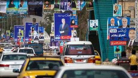 Electoral posters are displayed in the city of Najaf on May 7, ahead of Iraq's parliamentary elections.