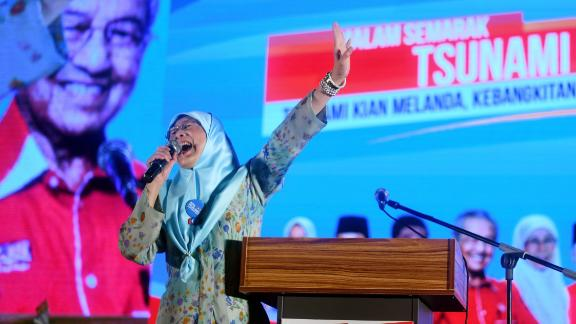 In this picture taken late May 6, 2018, Wan Azizah, wife of jailed former opposition leader and current Federal opposition leader Anwar Ibrahim, addresses supporters during a campaign rally in Kuala Lumpur ahead of the election to be held on May 9.