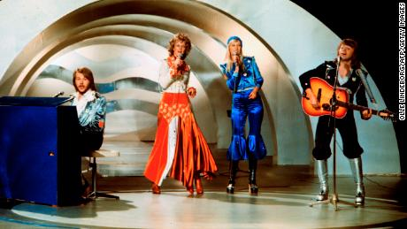 Swedish pop group Abba performs during the Eurovision Song Contest 1974.