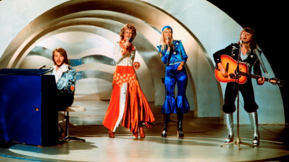 Swedish pop group Abba, performs during the the Eurovision Song Contest 1974.
