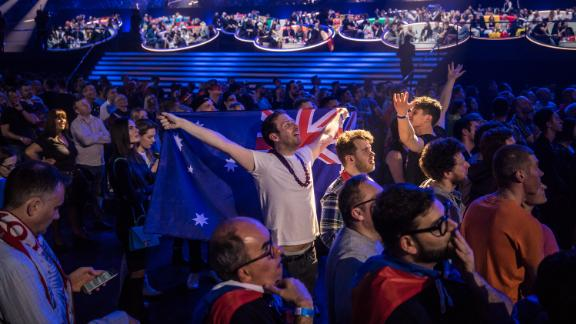 The audience watches the screen as they wait for results at the Eurovision Grand Final on May 14, 2017 in Kiev, Ukraine.