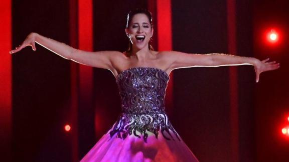 "Estonia's Elina Nechayeva performs ""La Forza"" during the 2018 Eurovision semifinals."