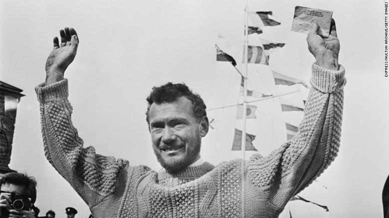 English sailor Robin Knox-Johnston arrives back at Falmouth after his single-handed non-stop circumnavigation of the globe in his yacht 'Suhaili', 23rd April 1969. (Photo by Express/Hulton Archive/Getty Images)