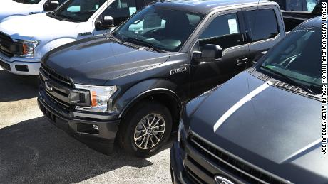 MIAMI, FL - OCTOBER 26:  Ford F-150 pickup trucks are seen on Metro Ford's sales lot on October 26, 2017 in Miami, Florida. Ford reported it's quarterly earnings per share of 39 cents, above Wall Street expectations of 33 cents driven in part by strong sales of its  F-Series pickup trucks.  (Photo by Joe Raedle/Getty Images)