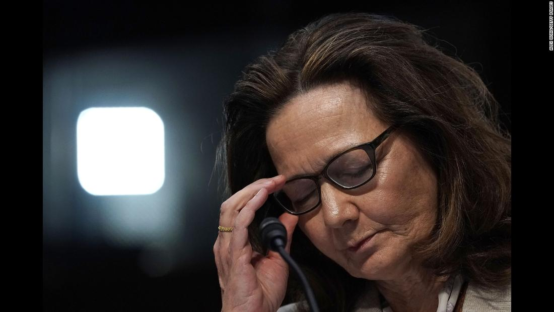 "Gina Haspel, the nominee for CIA director, testifies during her confirmation hearing in Washington on Wednesday, May 9. If she is confirmed, Haspel would become <a href=""https://www.cnn.com/2018/03/13/politics/who-is-gina-haspel/index.html"" target=""_blank"">the first woman to lead the intelligence agency.</a>"