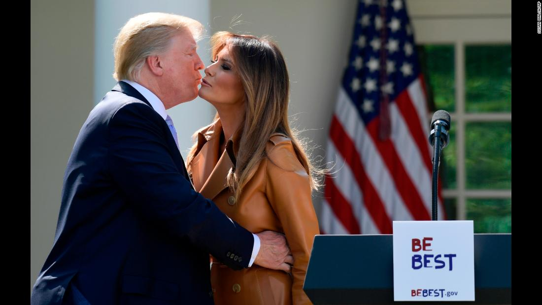 "US President Donald Trump kisses his wife, Melania, after she announced her <a href=""https://www.cnn.com/2018/05/07/politics/melania-trump-unveils-platform-be-best/index.html"" target=""_blank"">""Be Best"" platform</a> on Monday, May 7. The comprehensive program will focus on three main points -- well-being, opioid abuse and positivity on social media -- and it is the culmination of various public events, all of which centered on helping children."