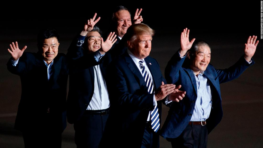 "The three Americans <a href=""https://www.cnn.com/2018/05/10/politics/trump-north-korea-freed-americans/index.html"" target=""_blank"">released by North Korea this week</a> are welcomed at Andrews Air Force Base in Maryland by US President Donald Trump and Secretary of State Mike Pompeo on Thursday, May 10. Kim Dong Chul, Kim Hak-song and Kim Sang Duk, also known as Tony Kim, were freed Wednesday while <a href=""https://www.cnn.com/2018/05/09/politics/mike-pompeo-north-korea-prisoners-tick-tock/index.html"" target=""_blank"">Pompeo was visiting North Korea</a> to discuss Trump's upcoming summit with North Korean leader Kim Jong Un."
