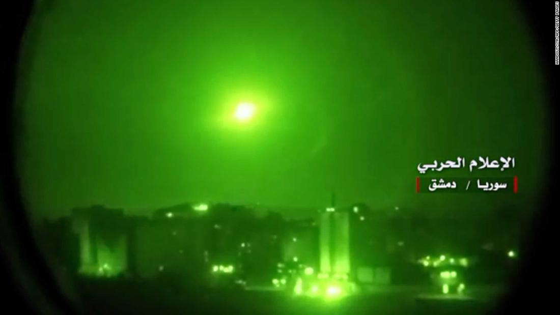 "This image, taken from video broadcast on Syrian TV on Thursday, May 10, purportedly shows Syrian air defense systems intercepting Israeli missiles over Syrian airspace. <a href=""https://www.cnn.com/2018/05/09/middleeast/israel-rockets-syria/index.html"" target=""_blank"">Israel claims it struck almost all of Iran's military capabilities in Syria</a> after what it says was an Iranian missile attack on the Golan Heights. In the most direct confrontation between Israel and Iran to date, the two regional enemies exchanged fire for hours during a volatile night."