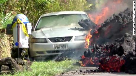 Lava quickly swallowed his Ford Mustang. But he's more upset about his destroyed R2-D2 mailbox