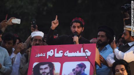 Manzoor Pastheen, the leader of Pakistan's Pashtun Protection Movement (PTM) speaks during a demonstration in Lahore in April 2018.
