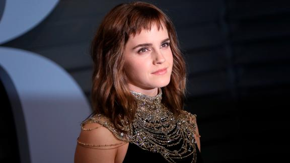 Emma Watson walking on the red carpet at the 2018 Vanity Fair Oscar Party hosted by Radhika Jones held at the Wallis Annenberg Center for the Performing Arts in Beverly Hills on March 4, 2018. (Photo by JC Olivera/Sipa USA)(Sipa via AP Images)