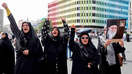 Iranians chant anti-US slogans during a demonstration in Tehran on May 11.