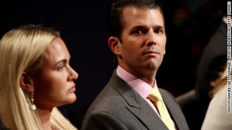 LAS VEGAS, NV - OCTOBER 19:  Donald Trump Jr. and his wife Vanessa Trump wait for the start of the third U.S. presidential debate at the Thomas & Mack Center on October 19, 2016 in Las Vegas, Nevada. Tonight is the final debate ahead of Election Day on November 8.  (Photo by Win McNamee/Getty Images)