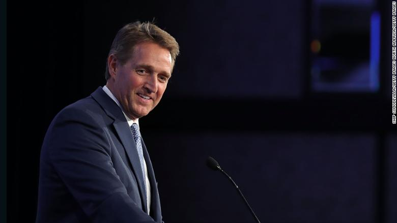 WASHINGTON, DC - JANUARY 25:  Sen. Jeff Flake (R-AZ) delivers remarks during the U.S. Conference of Mayors 86th annual Winter Meeting at the Capitol Hilton January 25, 2018 in Washington, DC. Flake spoke during the conference's Childhood Obesity Prevention Awards Luncheon which was sponsored by the American Beverage Association, whose members include producers and bottlers of soft drinks, bottled water, and other non-alcoholic beverages. The non-partisan conference of mayors from cities with populations of 300,000 or larger meet annually in Washington, DC.  (Photo by Chip Somodevilla/Getty Images)