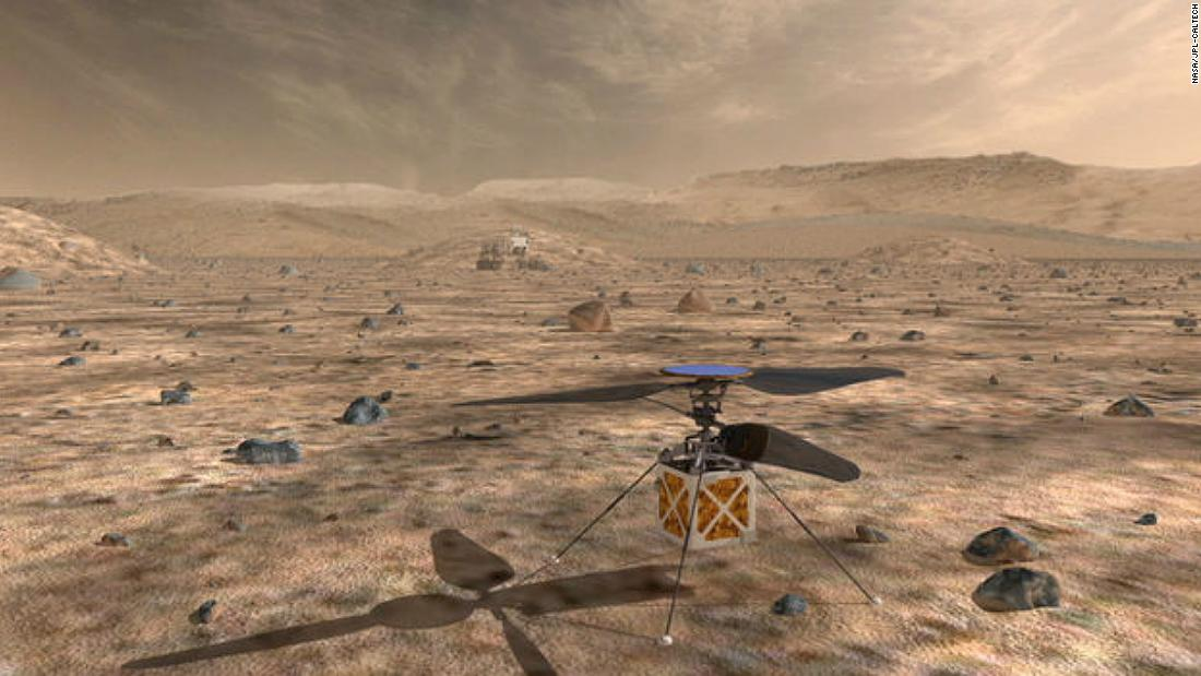 The Mars Helicopter will be equipped to fly through the thin Martian atmosphere.
