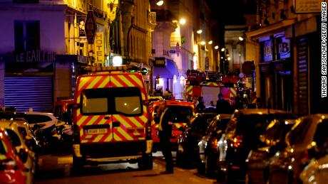 Firefighters vehicles block Saint Augustin street in Paris centre after one person was killed and several injured in a knife attack in Paris on May 12, 2018. - The assailant was killed by police. (Photo by Thomas SAMSON / AFP)        (Photo credit should read THOMAS SAMSON/AFP/Getty Images)
