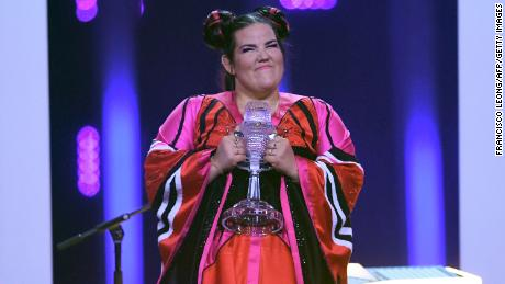 Israel's singer Netta celebrates winning the 63rd Eurovision Song Contest in 2018.