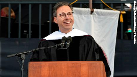 Jake Tapper gives the keynote address during the University of Massachusetts' 148th undergraduate commencement ceremony Friday, May 11, 2018, in Amherst, Mass. (Mark M. Murray /The Republican via AP)