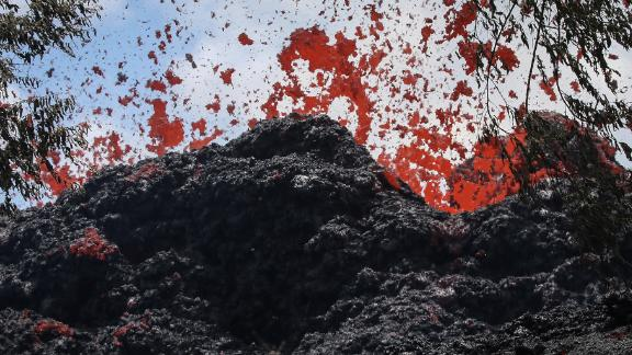 PAHOA, HI - MAY 12:  A lava fissure erupts in the aftermath of eruptions from the Kilauea volcano on Hawaii