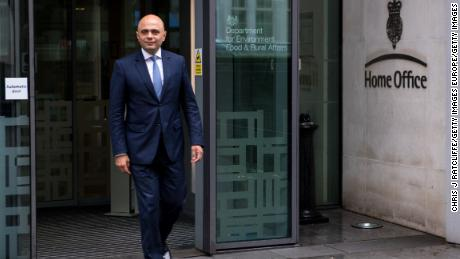 Newly appointed Home Secretary Sajid Javid outside the Home Office in central London.