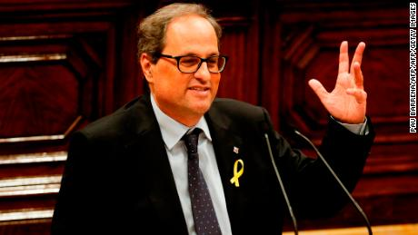 Junts per Catalonia (Together for Catalonia) MP and presidential candidate Quim Torra delivers a speech during a session at the Catalan parliament in Barcelona on May 12, 2018. - Catalonia's parliament will vote on whether to appoint hardline independence supporter Quim Torra as regional president, after deposed leader Carles Puigdemont stepped aside from the running. (Photo by PAU BARRENA / AFP)        (Photo credit should read PAU BARRENA/AFP/Getty Images)