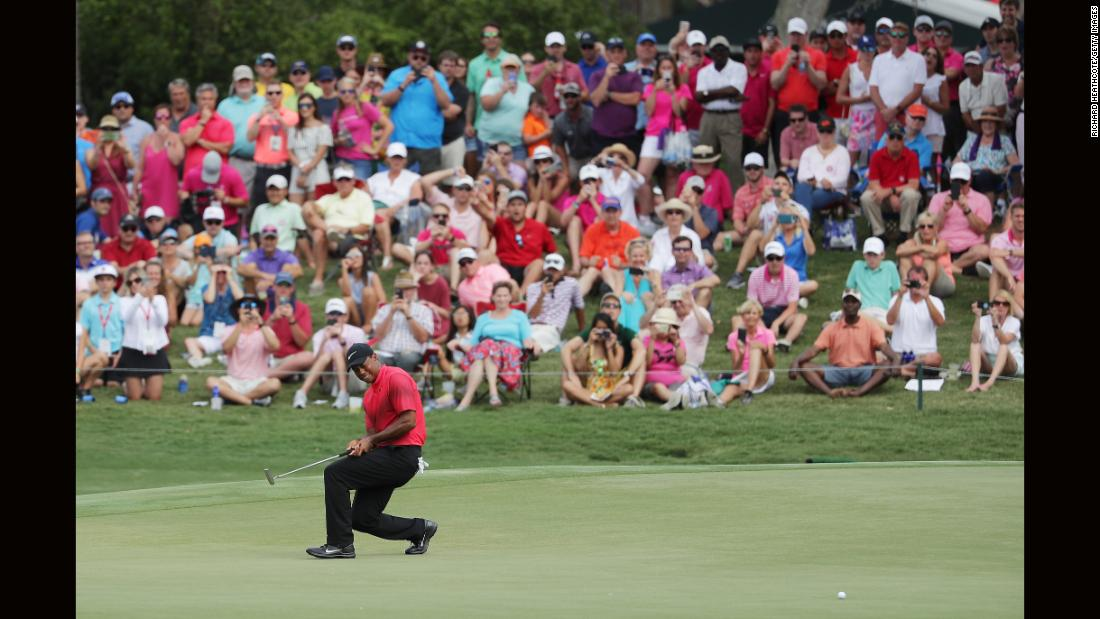 "<a href=""https://www.nytimes.com/2018/05/12/sports/golf/tiger-wood-players-championship.html?rref=collection%2Fsectioncollection%2Fsports&action=click&contentCollection=sports&region=rank&module=package&version=highlights&contentPlacement=8&pgtype=sectionfront"" target=""_blank"">Tiger Woods</a> of the United States reacts to a missed putt on the 11th green during the final round of The Players Championship on Sunday, May 13, in Ponte Vedra Beach, Florida."