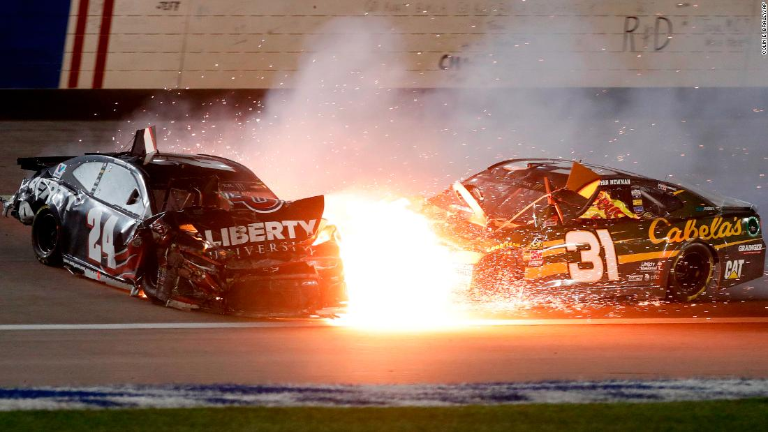William Byron (24) and Ryan Newman (31) crash in turn 4 during the NASCAR Cup Series auto race at Kansas Speedway in Kansas City, Kansas, on Saturday, May 12.
