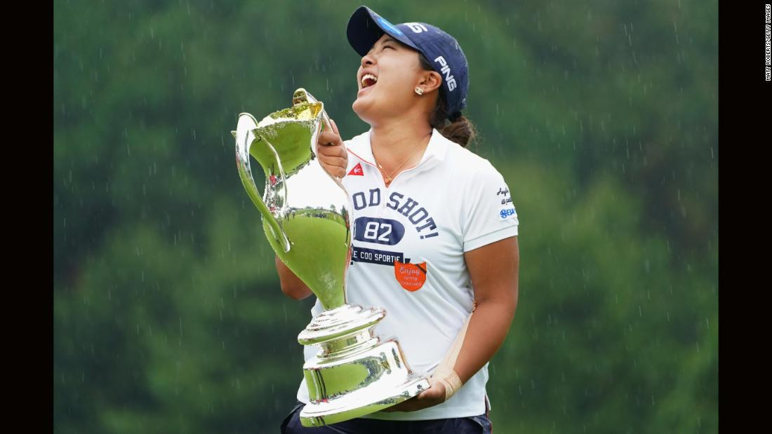 Golfer Ai Suzuki of Japan at the trophy presentation of the Hoken No Madoguchi Ladies at the Fukuoka Country Club on Sunday, May 13, in Fukuoka, Japan.