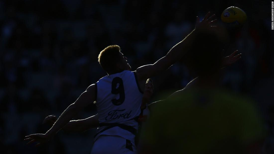 Zac Smith of the Cats competes for the ball during the round eight AFL match between the Collingwood Magpies and the Geelong Cats on Sunday, May 13, in Melbourne.