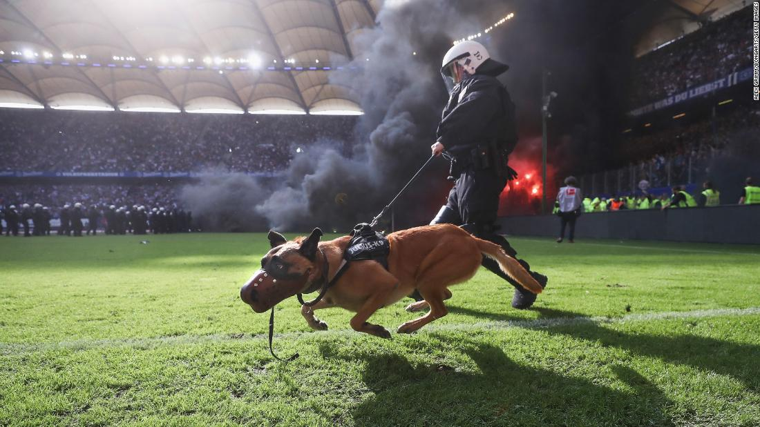 A Police dog is seen on the pitch as fans throw flares during the Bundesliga league match between Hamburger SV and Borussia Moenchengladbach at Volksparkstadion on Saturday, May 12, in Hamburg, Germany.