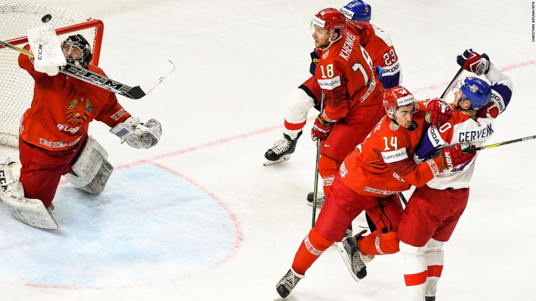 Belarus' goalie Mikhail Karnaukhov, left, in action during the IIHF World Championship group A hockey match between Belarus and the Czech Republic at the Royal Arena in Copenhagen, Denmark, Friday, May 11.