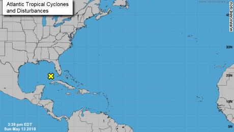 This map from the National Hurricane Center shows disturbances in the Atlantic on Sunday, May 13.