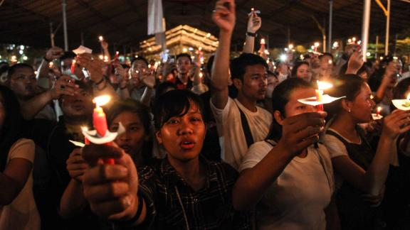 A candlelight vigil in the city of Medan on Indonesia's Sumatra island to support the victims and their relatives of a series attacks at churches in Surabaya.