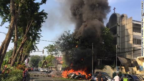A government handout image shows a bomb blast at Surabaya Pantekosta (Pentecostal) Center Church on May 13, 2018 in Surabaya, Indonesia.