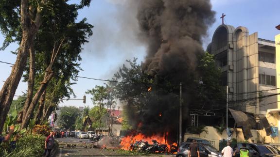 A government handout image shows a bomb blast at Surabaya Pantekosta (Pentecostal) Center Church on May 13, 2018 in Surabaya, Indonesia.