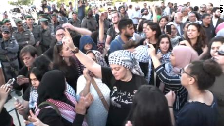 Protests in Jerusalem on Monday against the US Embassy move.