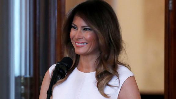WASHINGTON, DC - FEBRUARY 26: First Lady Melania Trump speaks at a luncheon for governors spouses in the Blue Room at the White House, on February 26, 2018 in Washington, DC. The nation's governors are in town for their annual meeting with the President. (Photo by Mark Wilson/Getty Images)