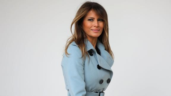 First lady Melania Trump heads back into the White House after hosting the 140th annual Easter Egg Roll on the South Lawn April 2, 2018 in Washington, DC. (Photo by Chip Somodevilla/Getty Images)